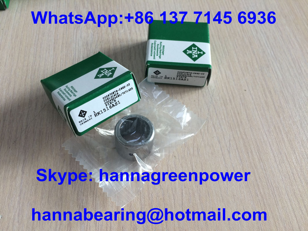 HK1516AS1 Open End Drawn Cup Metric Needle Bearings With Lubrication Hole 15x21x16mm