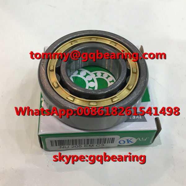 Gcr15 steel Material C3 Clearance ROLLWAY NU205EM NU205EMC3 Single Row Cylindrical Roller Bearing